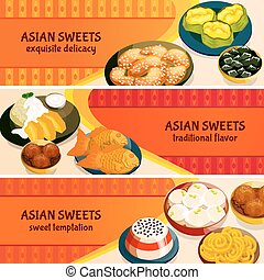Asian Sweets Horizontal Banners Set - Asian sweets...