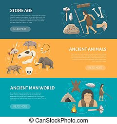 Stone Age Banners - Horizontal banners about life ancient...