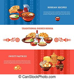 Russian Cuisine Flag Colors Banners Set - Russian cuisine...