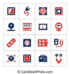 Set color icons of electricity isolated on white. Vector...