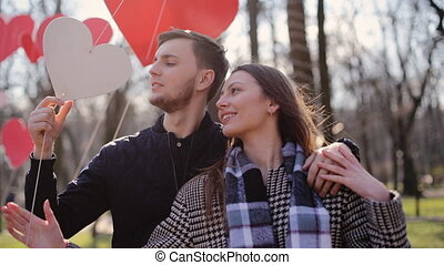 Young lovely couple having amazing time on the beautiful...