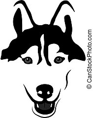 Siberian Husky Portrait Isolated Vector Illustration -...