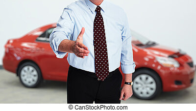 Car dealer. - Car dealer man. Auto dealership and rental...