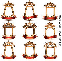 Set of geometric vector glamorous golden elements isolated...