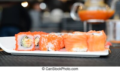 Sushi set with a seafood, Japanese kitchen - Sushi set with...