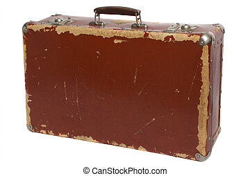 Old brown fiberboard suitcase, isolated on white background