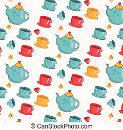 Seamless pattern of cups,teapot. Vector.