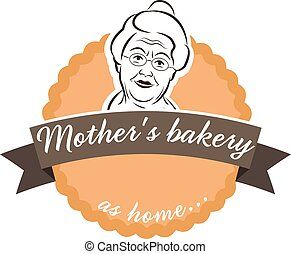 Illustration label cake with grandmother.Vector