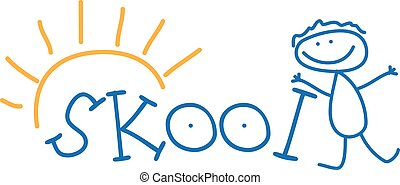 Illustration text school and doodle kid Vector