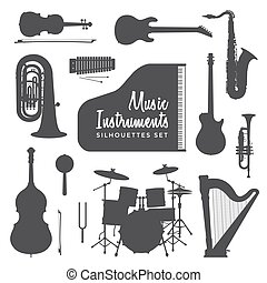 music instruments silhouettes collection