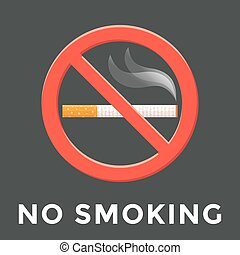 color no smoking label illustration - vector colored flat...