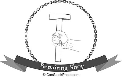 Repair workshop hand with a hammer logo.