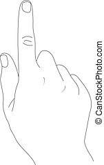 Hand with index finger on a white background.