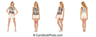 Pretty woman in shorts isolated