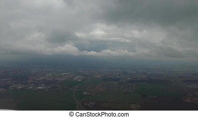 Plane landing in Prague - Plane immediately before landing...