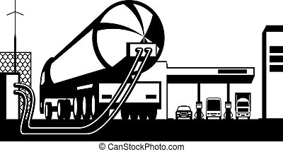 Tank truck loading gas station with fuel - vector...
