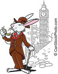 Rabbit in the costume of a gentleman near Big Ben