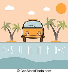 retro bus with surfboard vector design template