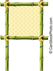 Square bamboo frame with wicker
