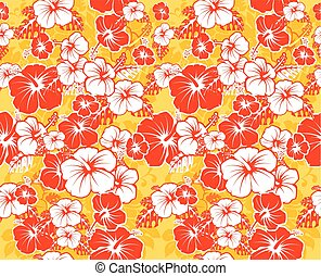 Floral seamless Hawaiian background with hibiscus flowers