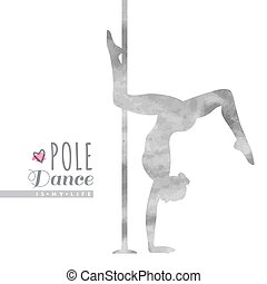 pole dance illustration - vector watercolor silhouette of...
