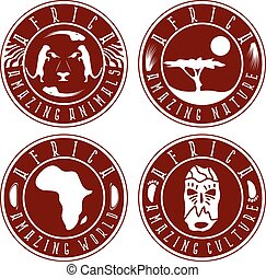 African ethnic culture ,animals and nature labels set