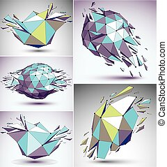 Collection of 3d vector digital wireframe blue and yellow objects broken into different particles, geometric polygonal structures with lines mesh. Low poly shattered shapes, lattice fractal forms.