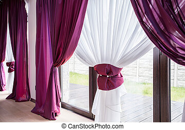Elegant curtain and drapes - Elegant curtain and purple...