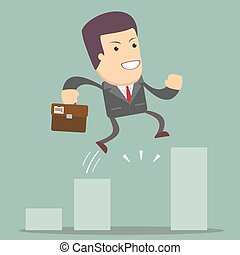 Businessman Jump Through The Gap In Growth Chart - Business...