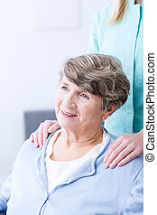 Senior with caregiver