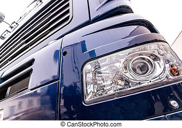 frente, luz, de, Un, moderno, camión, cierre, Arriba,...