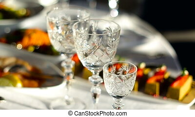 empty crystal wine glasses on the table this day