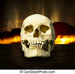skull on a background of a burning fireplace - Human skull...