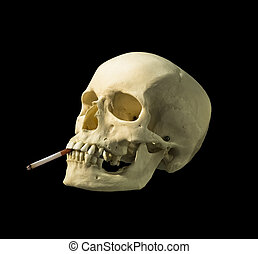 skull with a  cigarette on a black background