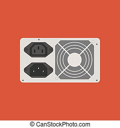 Power supply icon on the red background. Vector illustration
