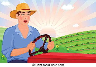 Farmer driving tractor - Happy farmer driving his tractor on...