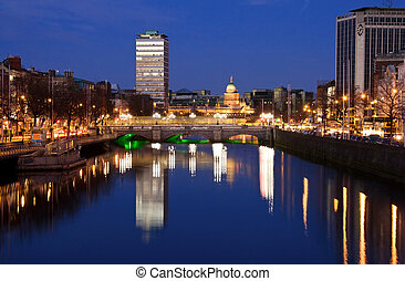 Dublin city - OConnell bridge - Dublin city at sunset with...