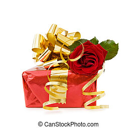 Festive gift with red rose
