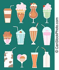 set of milkshakes with berries, milk beverages, ice cream...