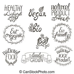 Organic, vegan, natural food hand written sign background with ribbon, floral ornaments and vignettes. Set of restaurant labels.
