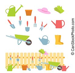 Set of gardening tools on white and composition with a fence. Vector flat illustration