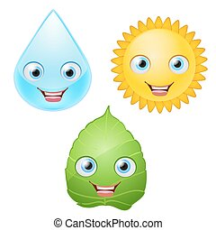 water drop, green leaf, sun icons smiling  characters with eyes. vector illustration