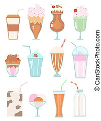 Collection of milkshakes with berries, milk beverages, ice...