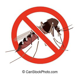 No Mosquito sign. Mosquito crossed by red line, stop mosquito sign. Illustration on zika virus theme, insect control design element.