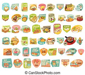 Food Stickers Set - Food Stickers Big Set on White...