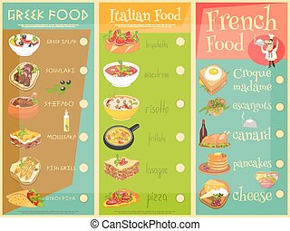European Cuisine Menu Set. Greek, Italian, French Food. Menu...