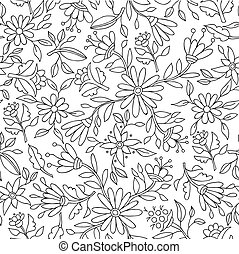 Flower background in black and white for coloring