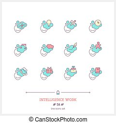 Color line icon set of people mind documents objects Human...