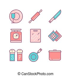 Kitchen stuff icons sings set. Thin line art icons. Flat style illustrations isolated on white.