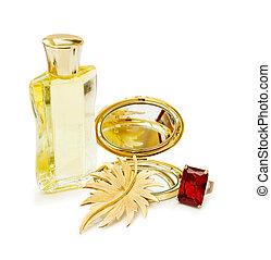Perfume bottle and jewelery